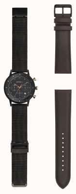Breil | caballero reloj de malla de acero stainlss negro | correa intercambiable | TW1808
