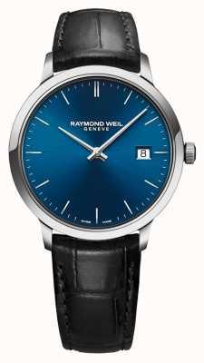 Raymond Weil Correa de cuero negro para hombre toccata esfera azul 5485-STC-50001