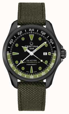 Certina Mens ds action gmt powermatic 80 correa verde esfera negra C0324293805100