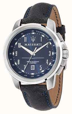 Maserati Correa de cuero azul oscuro esfera azul Successo R8851121003