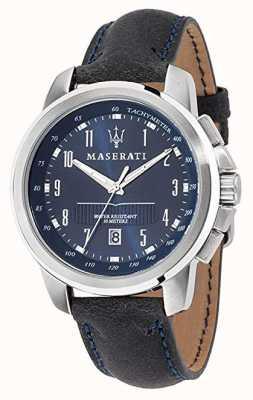 Maserati Correa de piel negra Successo esfera azul R8851121003