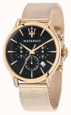 Maserati Epoca cronógrafo esfera negra pvd oro rosa malla R8873618005