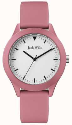 Jack Wills | correa de caucho rosa para caballero | esfera blanca | JW009JWPK