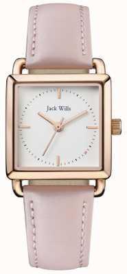 Jack Wills | señoras loring correa de cuero rosa | esfera blanca | JW016WHPK