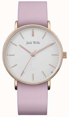 Jack Wills | Correa de silicona Sandhill Pink para mujer | esfera blanca | JW018WHPK