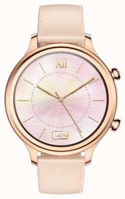 TicWatch C2 reloj inteligente de oro rosa | Correa de cuero 131584-WG12056-RG