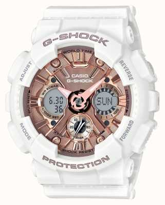 Casio | g-shock blanco y oro rosa | analógico y digital | GMA-S120MF-7A2ER
