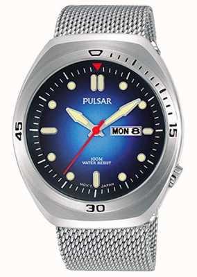 Pulsar Correa de cuero extra de malla de acero inoxidable con esfera azul para hombre PJ6097X2