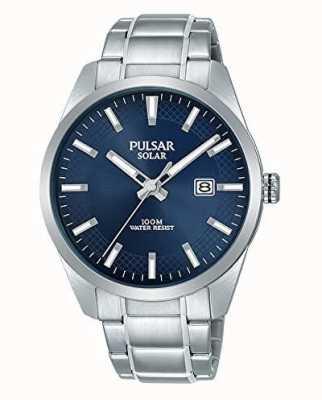 Pulsar Pulsera de acero inoxidable azul solar para hombre. PX3181X1