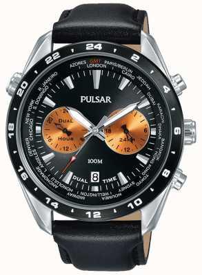 Pulsar Correa de cuero negro para hombre con esfera negra de doble hora PY7015X1