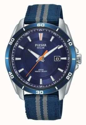 Pulsar Correa de nylon azul para hombre azul solar dial PX3177X1