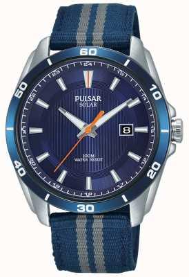 Pulsar Dial solar azul para hombre correa de nylon azul PX3177X1