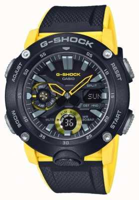 Casio El   protector de núcleo de carbono g-shock   correa amarilla negra   GA-2000-1A9ER