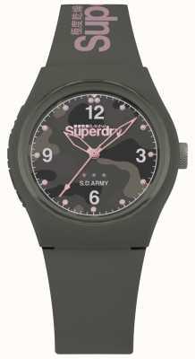 Superdry | mujer urbana | correa de silicona color caqui | esfera gris estampada SYL254NP