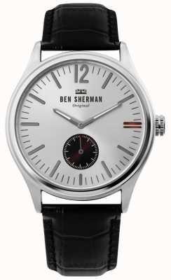 Ben Sherman | mens harrison city | esfera plateada | piel croc negra | WB035B