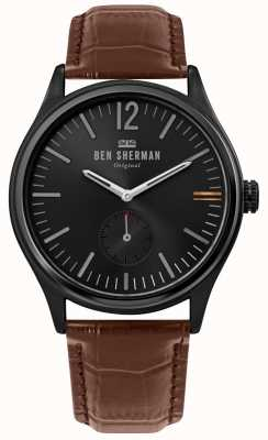 Ben Sherman | mens harrison city | esfera negra | piel croc marrón | WB035T