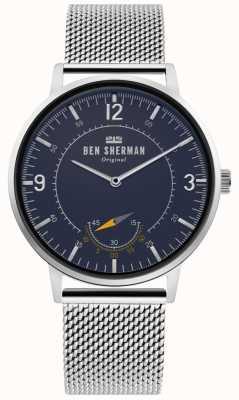Ben Sherman | herencia para hombre portobello | esfera azul | malla de plata | WB034USM