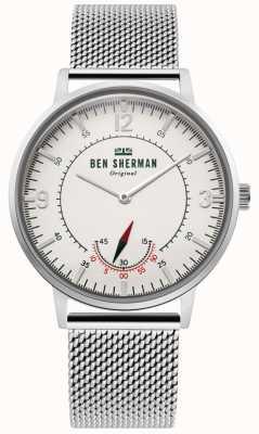 Ben Sherman | herencia para hombre portobello | dial blanco | malla de acero inoxidable WB034SM