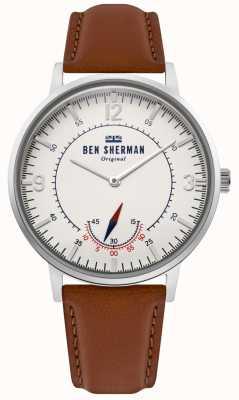 Ben Sherman | herencia para hombre portobello | dial blanco | cuero bronceado | WB034T