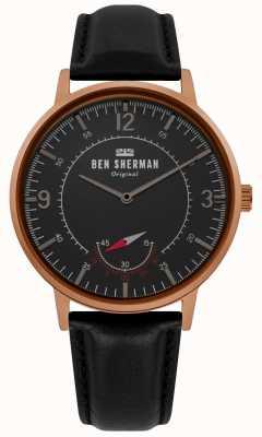 Ben Sherman | herencia para hombre portobello | esfera negra | cuero negro | WB034B
