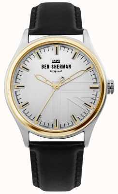 Ben Sherman | mens harrison | correa de cuero negro | esfera plateada | WB036B