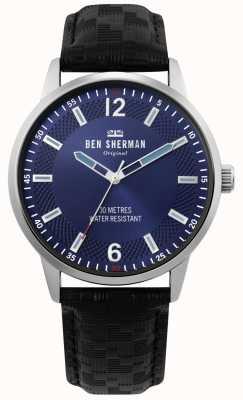 Ben Sherman | daltrey social para hombre | correa de cuero negro | esfera azul | WB029BU