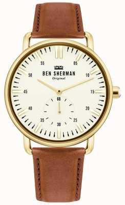 Ben Sherman | mens brighton city | correa de cuero marron | esfera blanca | WB033TG