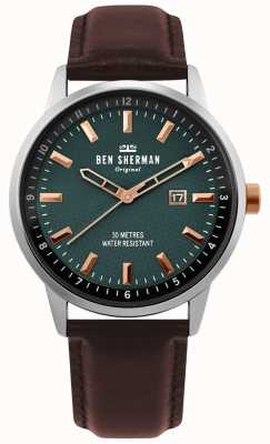Ben Sherman | daltrey profesional para hombre | cuero marron | esfera verde | WB030NT