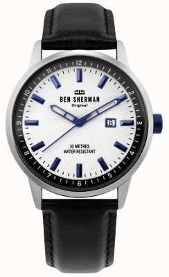 Ben Sherman | daltrey profesional para hombre | cuero negro | esfera blanca | WB030B