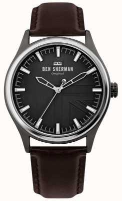 Ben Sherman | mens harrison | correa de cuero marron | esfera negra | WB036T
