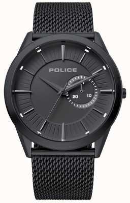 Police | hombre helder | correa de malla negra | esfera negra | 15919JSB/02MM