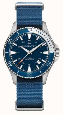 Hamilton | khaki navy scuba automatic | correa de tela azul | esfera azul H82345941
