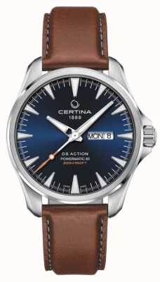 Certina | ds action day-date powermatic 80 | esfera azul | correa marrón C0324301604100