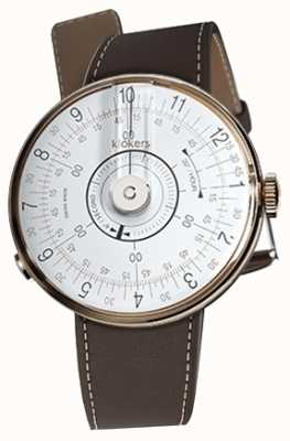 Klokers Correa de reloj Klok 08 blanco marrón chocolate sola KLOK-08-D1+KLINK-01-MC4