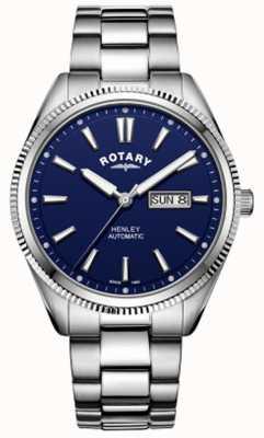 Rotary | mens henley | bisel serrado | esfera azul | acero inoxidable GB05380/05