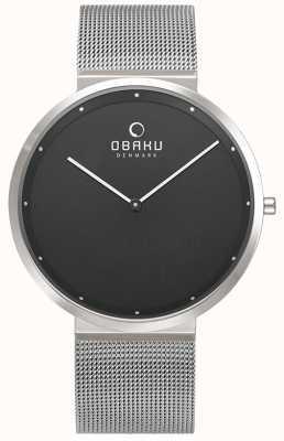 Obaku | onyx papir para hombre | pulsera de malla de plata | esfera negra | V230GXCBMC