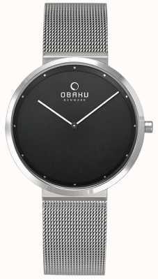 Obaku El | papir para mujer lillie onyx | pulsera de malla de plata | negro V230LXCBMC