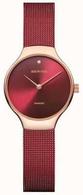Bering | reloj de caridad para mujeres | correa de malla roja | esfera roja | 13326-CHARITY