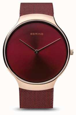 Bering | reloj de caridad para mujeres | correa de malla roja | esfera roja | 13338-CHARITY