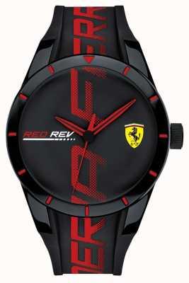 Scuderia Ferrari | redrev masculino | correa de silicona negra / roja | esfera negra | 0830614