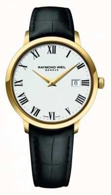 Raymond Weil | tocata para hombre | caja pvd dorada clásica esfera blanca | 5485-PC-00300