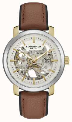 Kenneth Cole | mens automatic | cuero marron | esfera esqueleto plateado | KC50776005