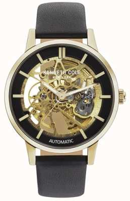 Kenneth Cole | mens automatic | cuero marron | esfera esqueleto marrón | KC50779004