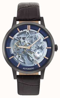 Kenneth Cole | mens automatic | correa de cuero marron | esfera azul | KC50559001