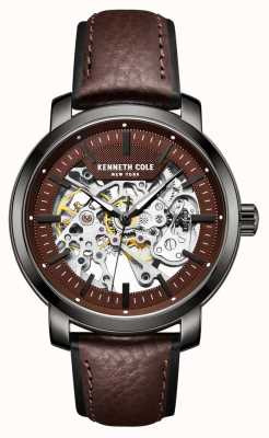 Kenneth Cole | mens automatic | cuero marron | caja de metal pistola | KC50776004