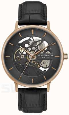 Kenneth Cole | mens automatic | caja de oro rosa | cuero negro | KC50780001