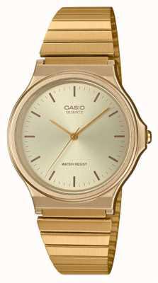 Casio | reloj redondo vintage | pulsera expansible | esfera dorada | MQ-24G-9EEF
