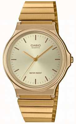 Casio   reloj redondo vintage   pulsera expansible   esfera dorada   MQ-24G-9EEF
