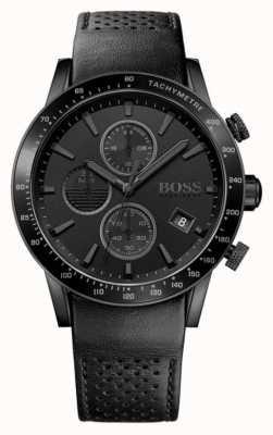 Hugo Boss | cronógrafo para hombre rafale esfera negra | correa de cuero negro 1513456