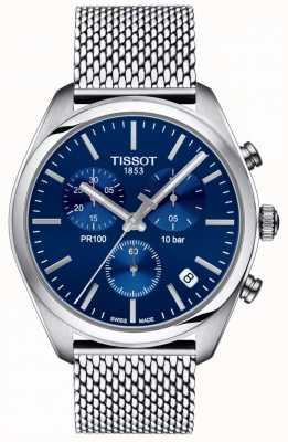 Tissot | cronógrafo pr100 para hombre | pulsera de malla | esfera azul | T1014171104100